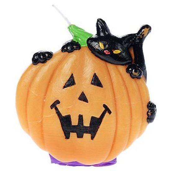 Vela Halloween Abóbora e Gato Preto