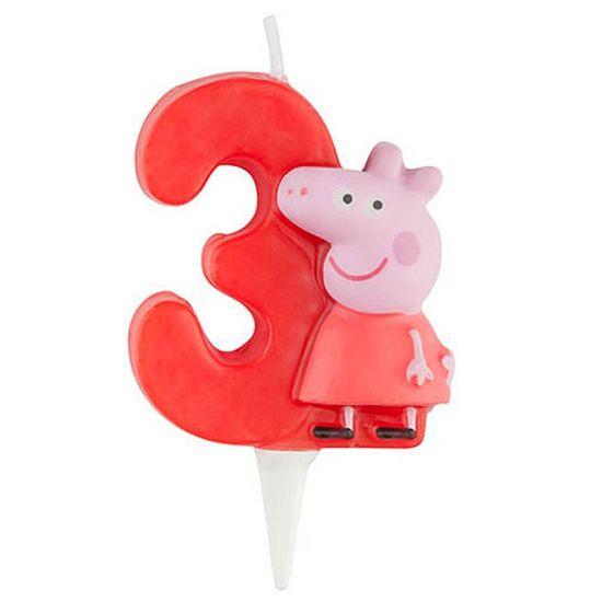 Vela Escultura 3D Numeral Peppa Pig - Nº 3