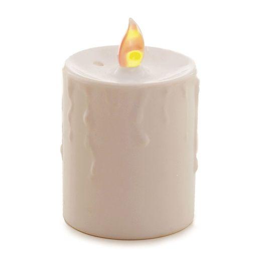Vela Pilar Branca, em Caixa de Pvc com Duas Un. Cada Vela Funciona com 2 Pilhas AA