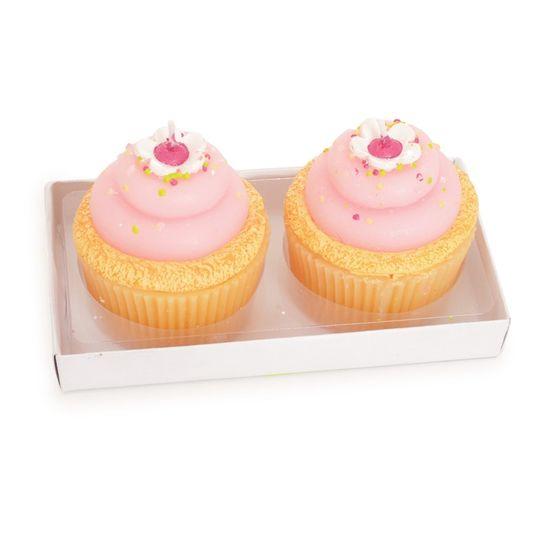 Vela Cupcake Rosa Claro ( Velas Candies ) - 2 Jogos com 2 Peças