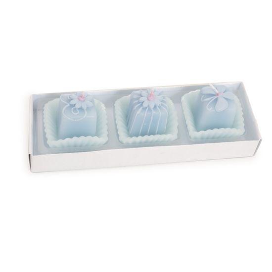 Vela 3 Docinhos Azul Claro ( Velas Candies ) - 2 Jogos com 3 Peças
