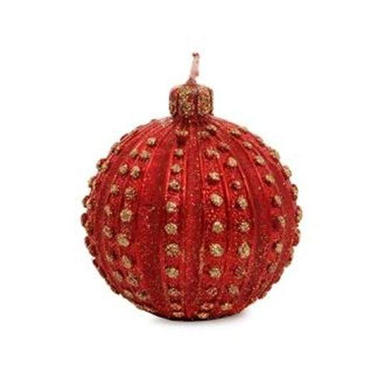 Bola com Glitter Vermelho e Ouro Tamanho P (Velas de Natal) - 2 Jogos com 2 Peças
