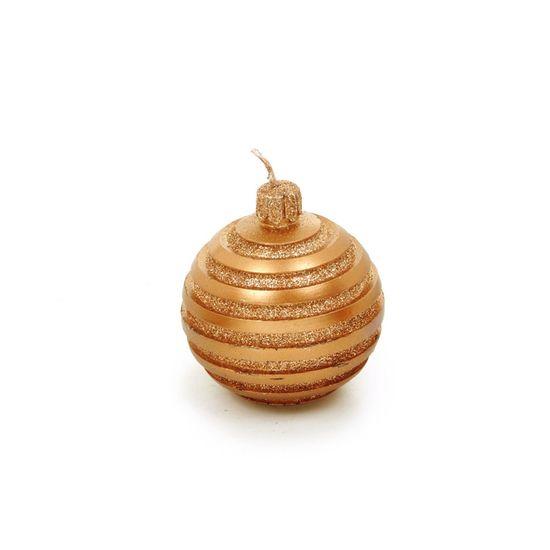 Vela Formato Bola com Glitter Cobre (Velas de Natal) - 2 Jogos com 2 Peças