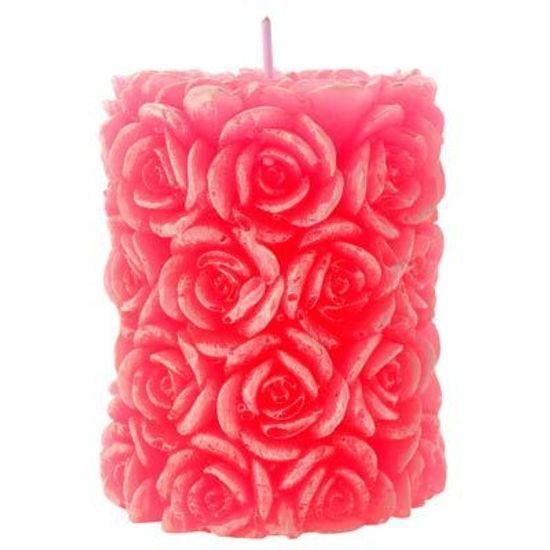Vela Cilindro Florido 8x6cm Rosa