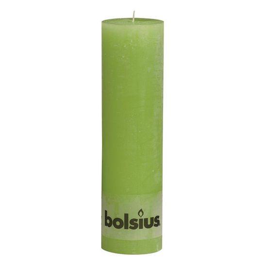 Natal - Vela Pilar Rústico Verde Limão 25X68 cm (Velas Bolsius) - 6 Un