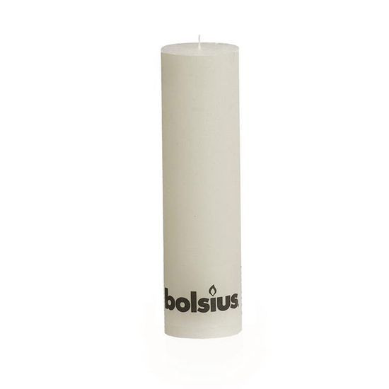 Natal - Vela Pilar Rústico Branca 25X68 cm (Velas Bolsius) - 6 Un