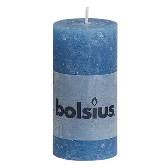 Natal - Vela Pilar Rústico Azul Claro 10X5 cm (Velas Bolsius) - 8 Un