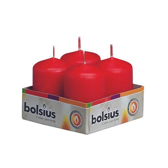 Natal - Vela Mini Pilar Vermelho 6X4 cm (Velas Bolsius) - 4 Peças