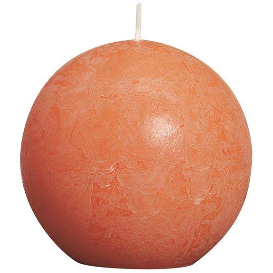 Natal - Vela Bola Rústico Laranja 8 cm (Velas Bolsius) - 6 Un