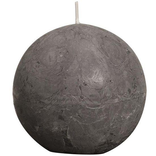 Natal - Vela Bola Rústico Cinza 8 cm (Velas Bolsius) - 6 Un