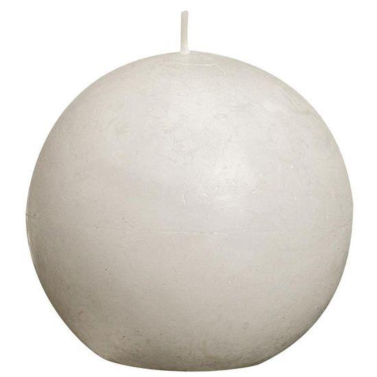 Natal - Vela Bola Rústico Branca 8 cm (Velas Bolsius) - 6 Un