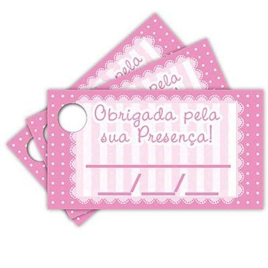 Tags com Furo Petit Poá Rosa - 15 Un