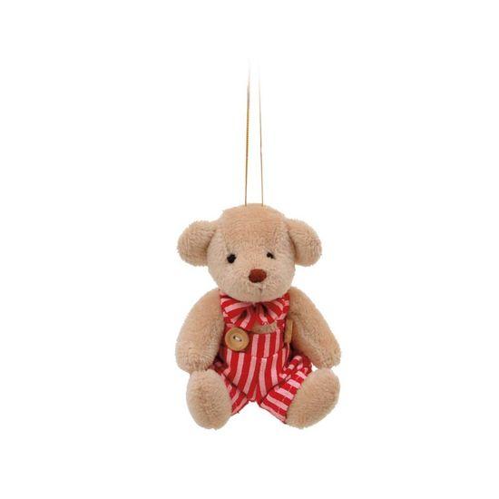 Mini Urso Roupa Listrada Rosa Claro e Vermelho (Patchwork Color) - 2 Un
