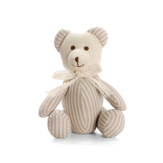 Urso Listrado Bege Cinza Tamanho Pequeno ( Muffin ) - 2 Un