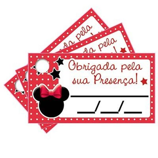 Tags com Furo Minnie Vermelha - 15 Un