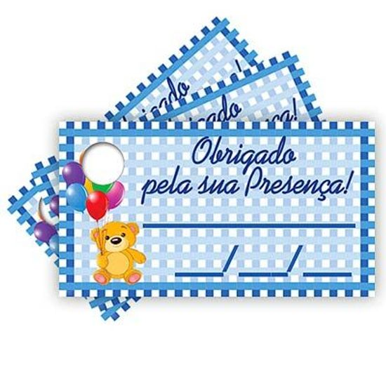 Tags com Furo Infantil Azul - 15 Un