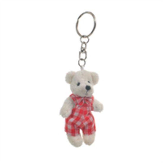 Mini Urso Roupa Xadrez Marfim e Vermelho (Patchwork Vermelho) - 6 Un