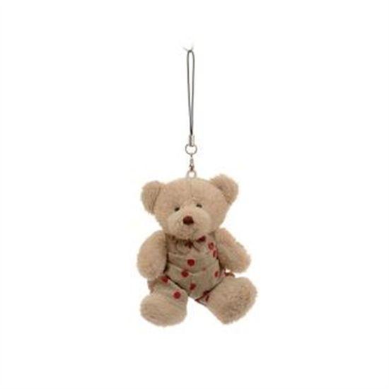 Urso Sentado com Poá Bege e Vermelho (Patchwork Vermelho) - 6 Un