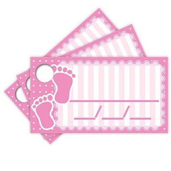 Tags com Furo Baby Shower Rosa - 15 Un