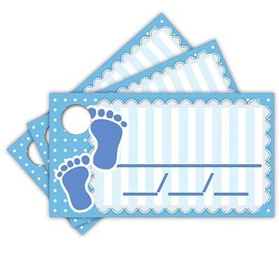 Tags com Furo Baby Shower Azul - 15 Un