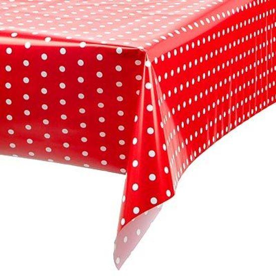 Toalha Plástica Perolada Petit Poá Vermelho - 10 Un