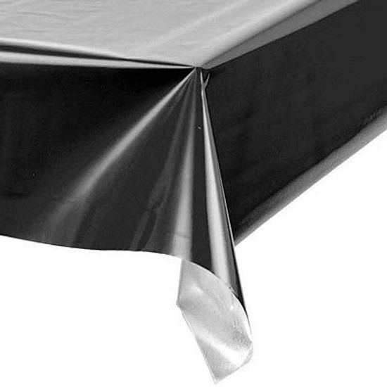 Toalha Plástica Perolada Liso Preto - 10 Un