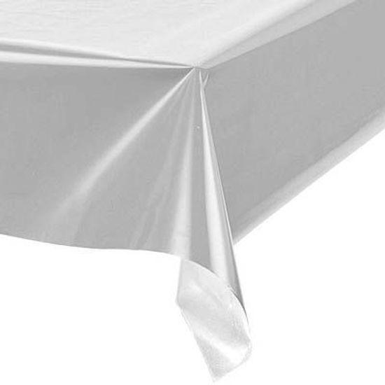 Toalha Plástica Perolada Liso Prata - 10 Un