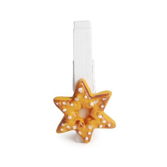 Prendedor Estrela Marfim (Mini Adesivos e Prendedores) - 6 Peças