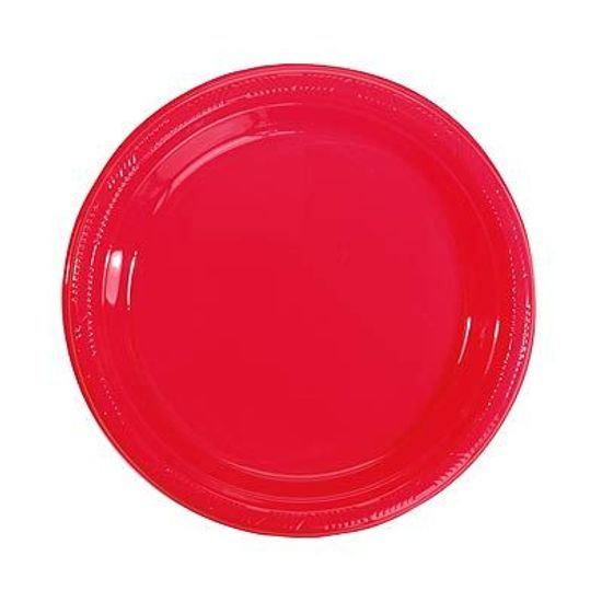 Prato Plástico 22cm Happy Line Vermelho - 10 Un