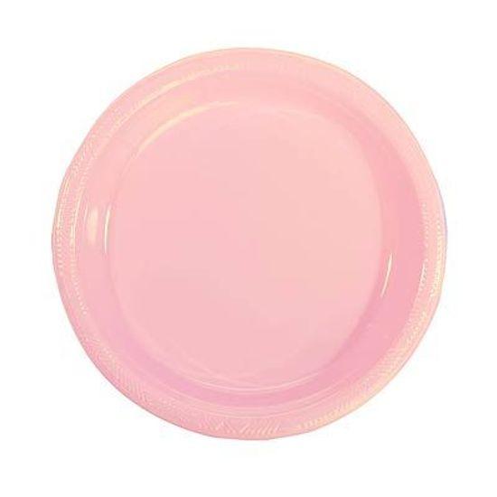 Prato Plástico 22cm Happy Line Rosa - 10 Un