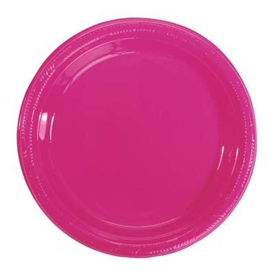 Prato Plástico 22cm Happy Line Pink - 10 Un