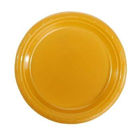 Prato Plástico 22cm Happy Line Ouro - 10 Un