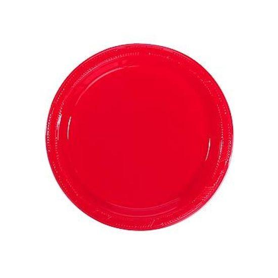 Prato Plástico 18cm Happy Line Vermelho - 10 Un