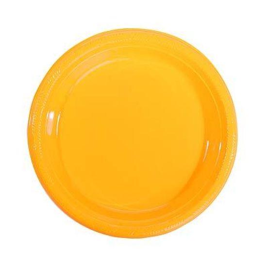 Prato Plástico 22cm Happy Line Amarelo - 10 Un