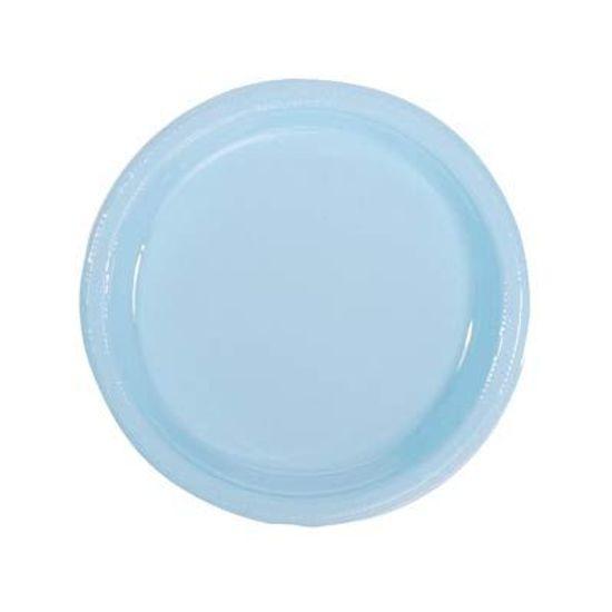 Prato Plástico 18cm Happy Line Azul Claro - 10 Un