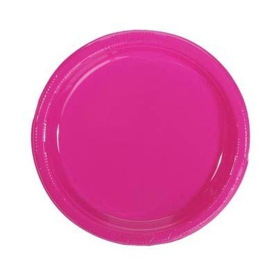 Prato Plástico 18cm Happy Line Pink - 10 Un