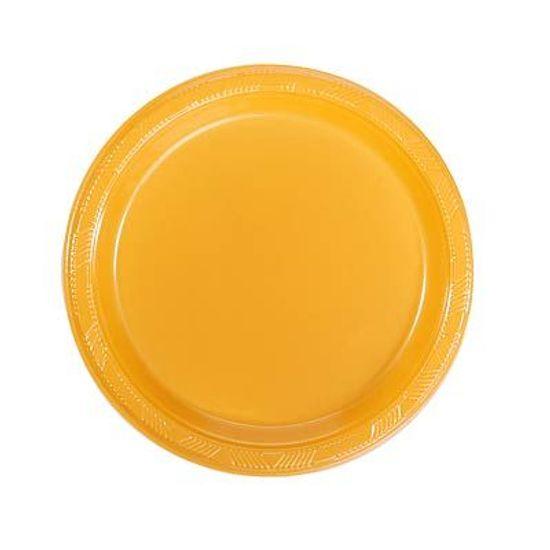 Prato Plástico 18cm Happy Line Ouro - 10 Un