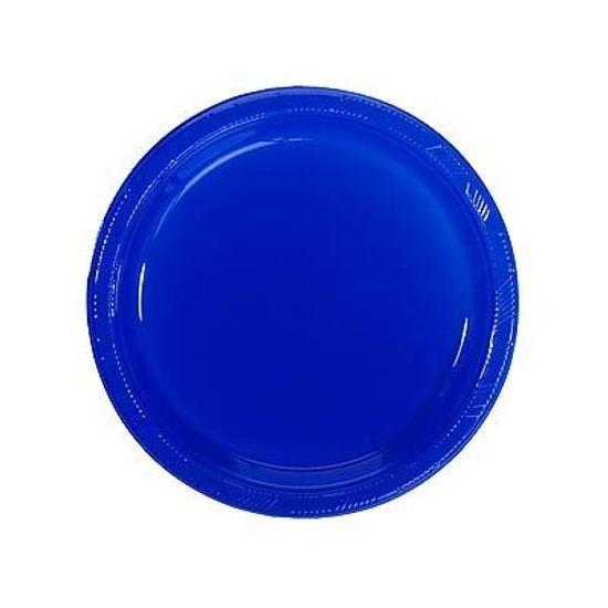 Prato Plástico 18cm Happy Line Azul Royal - 10 Un