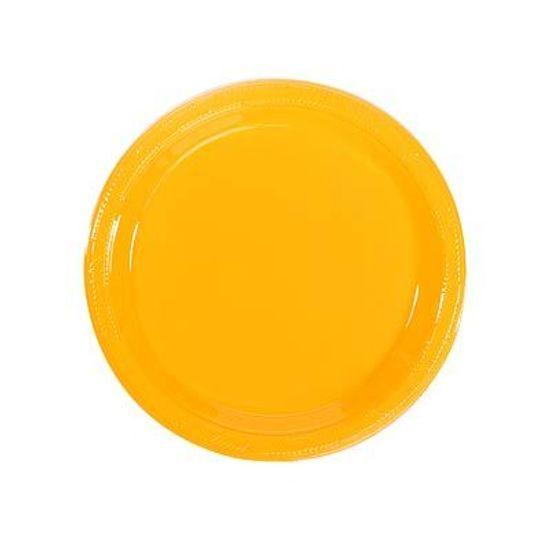 Prato Plástico 18cm Happy Line Amarelo - 10 Un