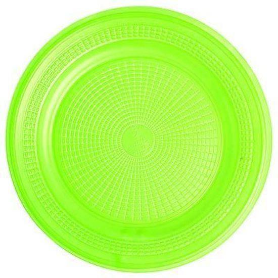 Prato Descartável Sobremesa Color Plástico Verde - 10 Un