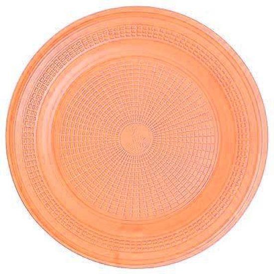 Prato Descartável Sobremesa Color Plástico Laranja - 10 Un