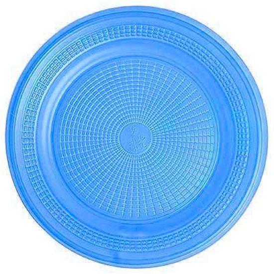 Prato Descartável Sobremesa Color Plástico Azul Royal - 10 unidades