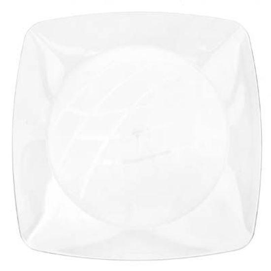 Prato Descartável Refeição Grande Quadrado Cristal - 10 Un