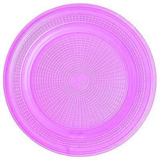 Prato Descartável Sobremesa Color Plástico Lilás - 10 Un