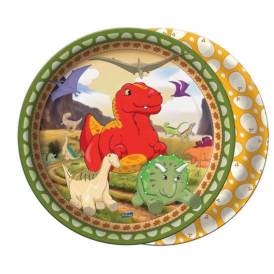 Prato Descartável Festa Dinossauros - 08 Un