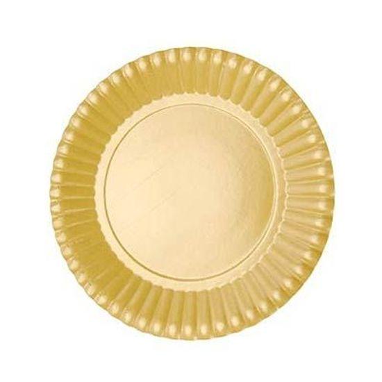 Prato Descartável Cartonado Pequeno 15cm Ouro - 10 Un