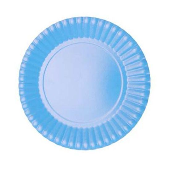 Prato Descartável Cartonado Pequeno 15cm Azul Claro - 10 Un