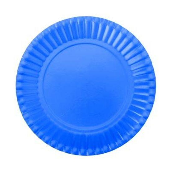 Prato Descartável Cartonado Pequeno 15cm Azul Royal - 10 Un