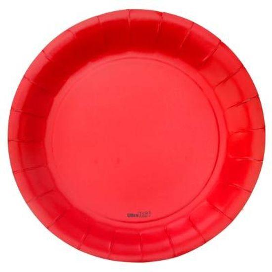 Prato Descartável Cartonado Médio 18cm Vermelho - 08 Un