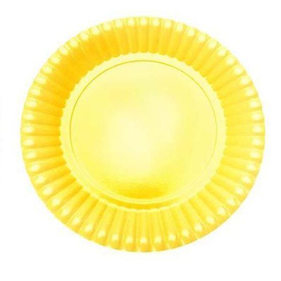 Prato Descartável Cartonado Pequeno 15cm Amarelo - 10 Un